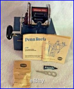 Vtg Penn 6/0 Senator II High Speed 114HL Fishing Reel NEW original box & manual