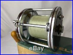 Vtg Penn Senator 114-H 6/0 Salt Water Red Fishing Reel Rod Clamp Manual Box Tool