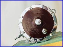 Vtg Penn Senator 114-H 6/0 Salt Water Red Fishing Reel Rod Clamp Manual Tool BOX